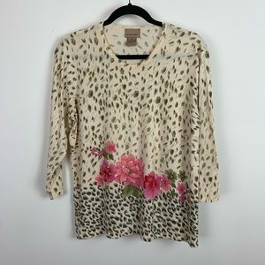 Choices leopard and floral thin sweater size xl